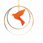 Collier - Sautoir - oiseau - origami - mandarine