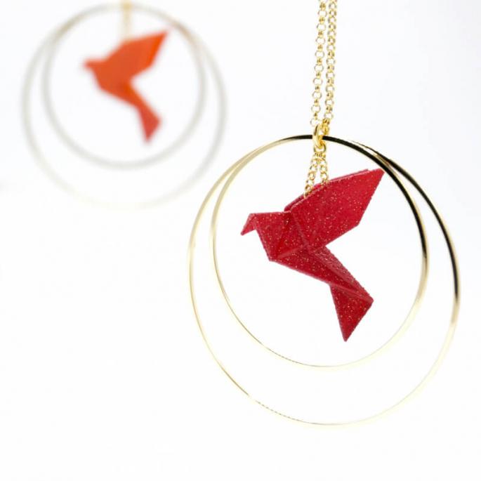Collier - Sautoir - oiseau - origami - rouge