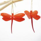 Boucles d'oreilles libellule mandarine