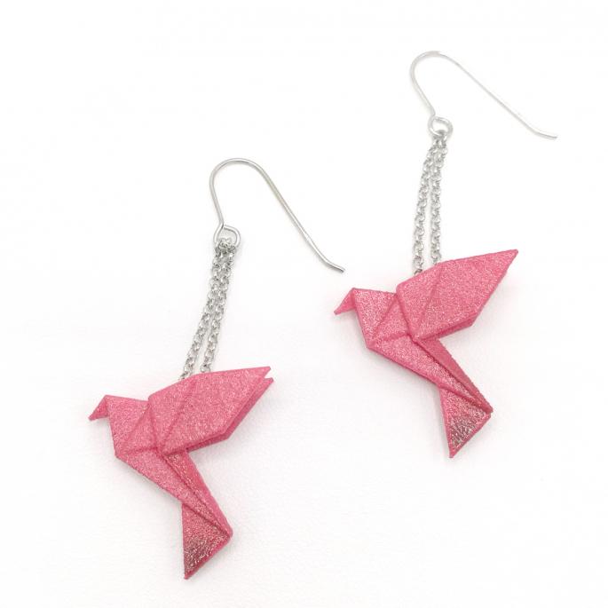 Boucles d'oreilles oiseau Origami : Birdy rose