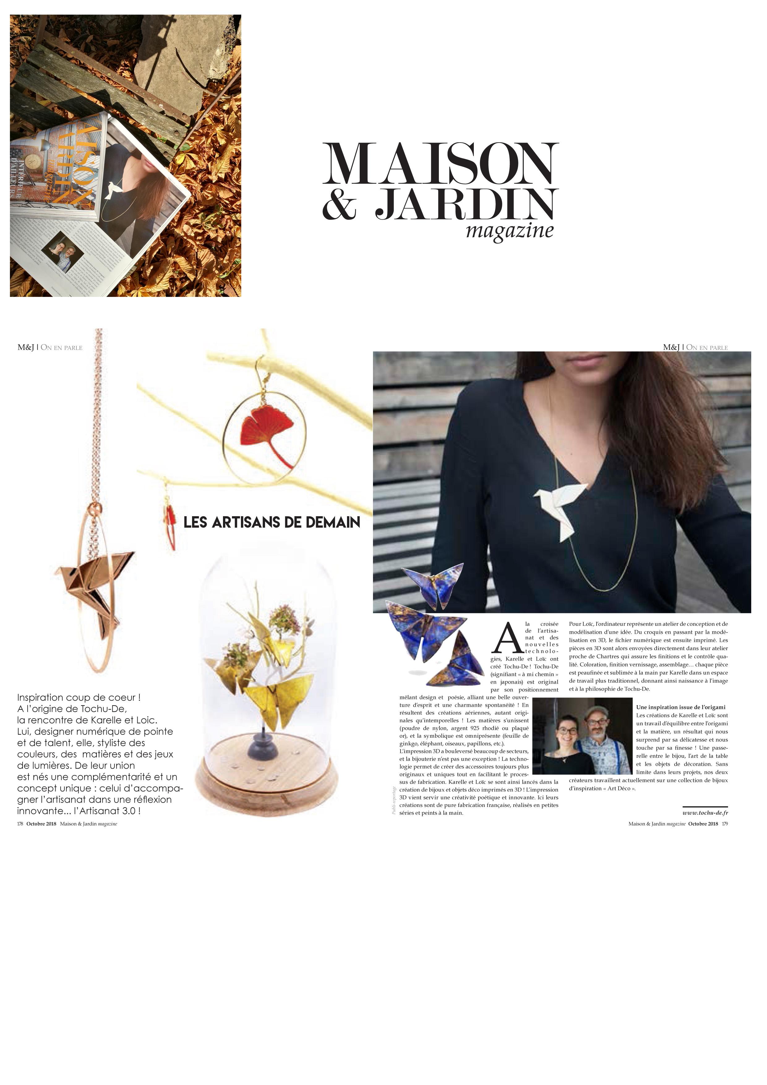 C Maison Et Jardin Magazine article presse maison et jardin oct 2018 - tochu-de